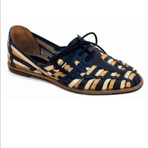 Anthropologie Shoes - Boho Navy Leather Classic Woven Huarache Loafers